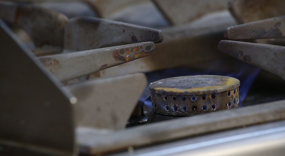 Close up of Gas stove burner at Allerton golf club kitchen