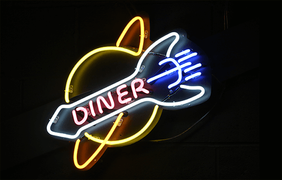 V-Rev Diner fluorescent light logo